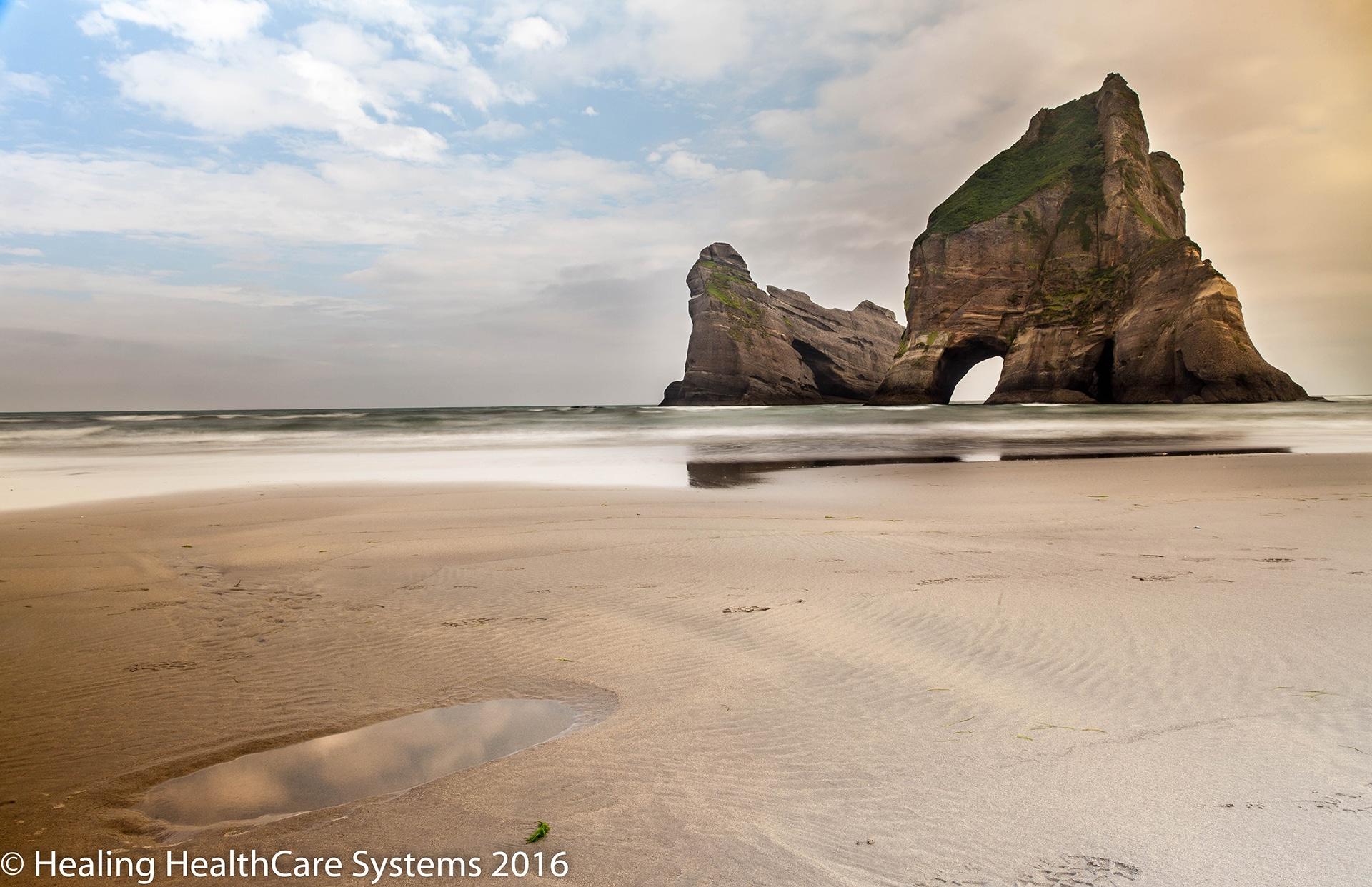 The rock formations at Wharariki Beach.