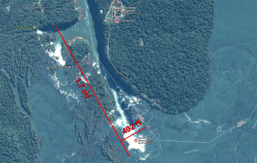 Iguazu falls map and size