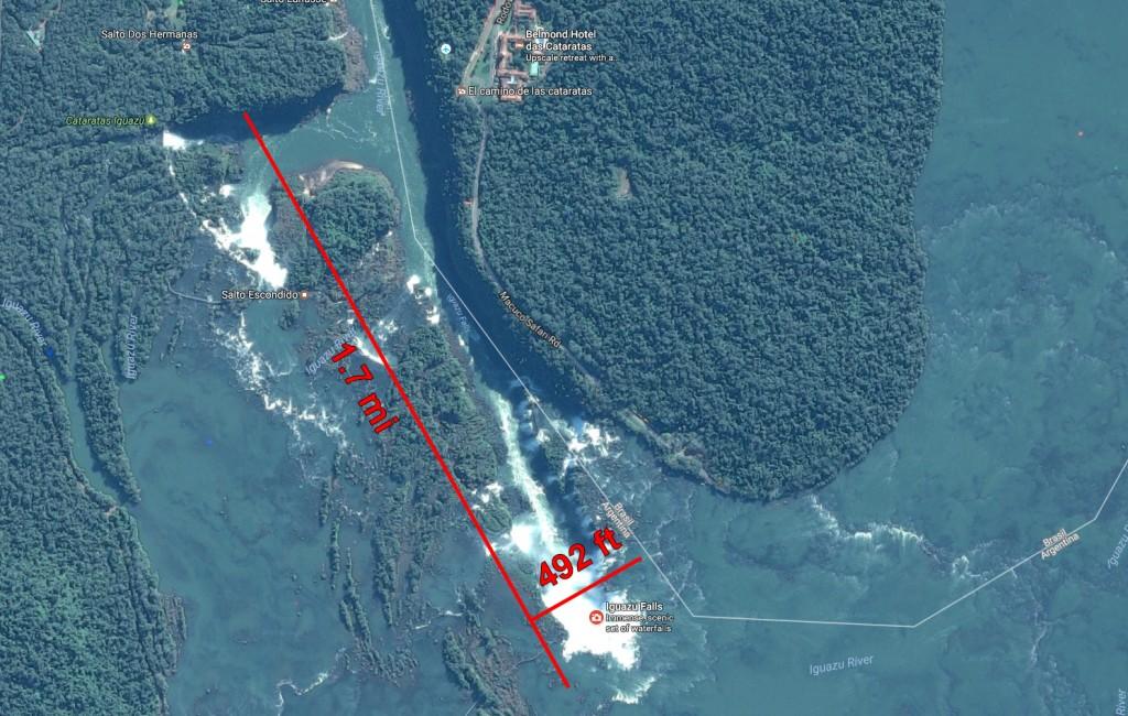 Iguazu falls map and size