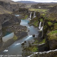 Waterfalls in canyon Iceland