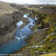 aerial shot of canyon in Iceland
