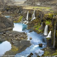 Iceland waterfalls out of canyon walls