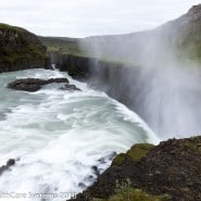 Iceland cascading water and mist