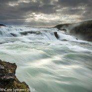 Wide fast moving water Iceland