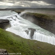 Mist and clouds over Iceland canyon