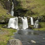 Series of pools and waterfalls Iceland
