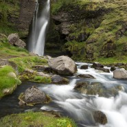 Smooth waterfall and stream Iceland