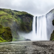 Wide waterfall Iceland