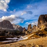 Dolomites snow and clouds