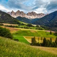 Dolomites and farming valley