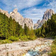 Dolomites stream and clouds