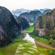 Vietnam rice fields in canyon