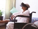 Elderly woman using VR